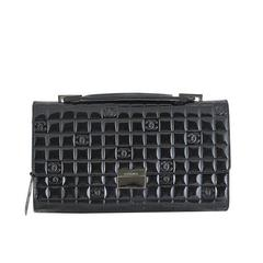 Chanel CC Mirror Black Patent Medium Evening Clutch Bag