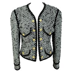 1990s Moschino Milano Gray Wool and Mohair Tweed Boucle Jacket Botton Golden