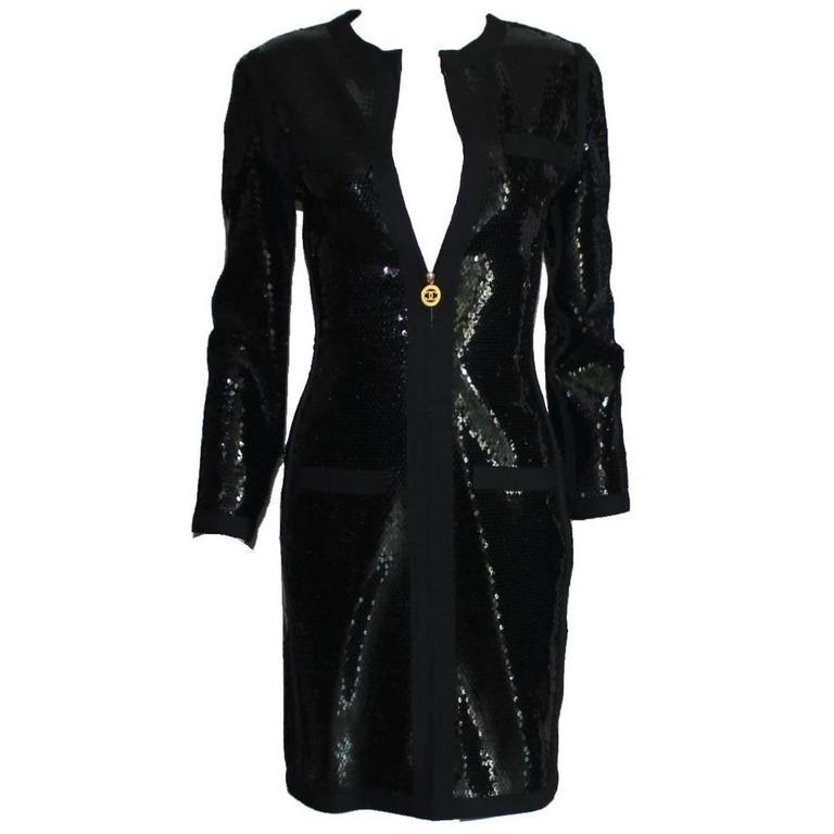 Amazing Black Chanel Sequin Silk Evening Dress Coat Jacket