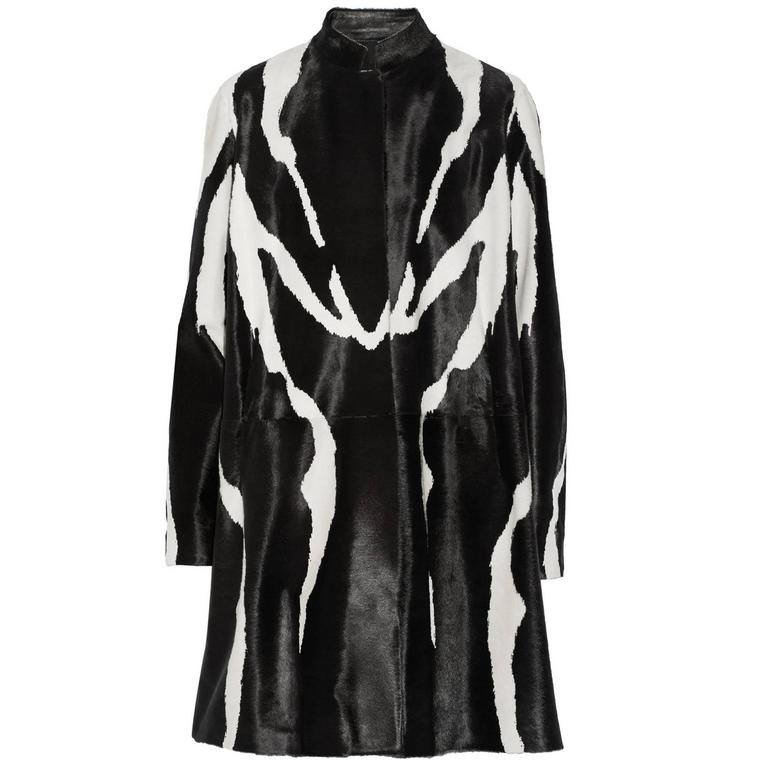 New Runway Tom Ford Zebra Print Fur Calf Hair Black White Coat 38 - 4
