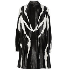 New Runway Tom Ford Zebra Print Fur Calf Hair Black White Coat 38 - 4/6