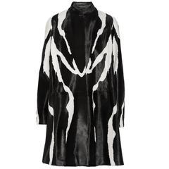 New Runway Tom Ford Zebra Print Fur Calf Hair Black White Coat 38 - 4