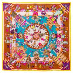 "Hermes Shawl  ""Kachinas"" 100% Silk Brown, Yellow, Blue Color 140cm 2013"
