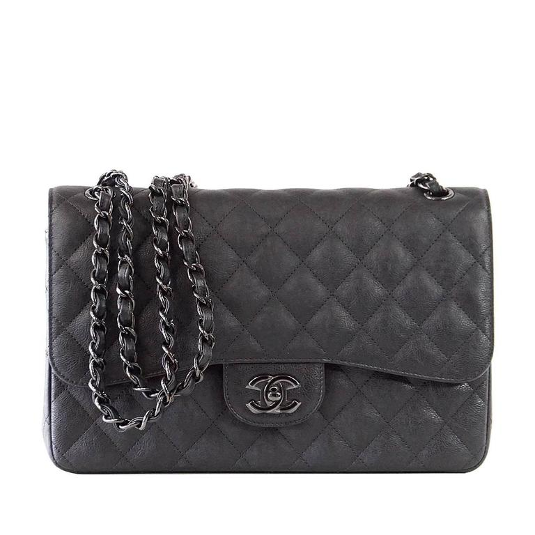 f482e7124055 CHANEL Bag Quilted So Black Jumbo Classic Double Flap Calfskin Limited  Edition For Sale