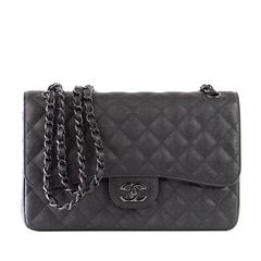 CHANEL Bag Quilted So Black Jumbo Classic Double Flap Calfskin Limited Edition