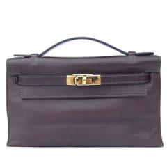 Hermes Kelly Pochette Clutch Handbag Havane Evergrain Leather GHW 22 cm