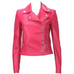 New $6,495 Versace Hot Pink Quilted Leather Medusa Moto Jacket It. 38