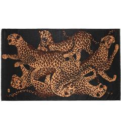 YVES SAINT LAURENT Foulards c.1980's YSL Oversized Black Leopard Print Scarf
