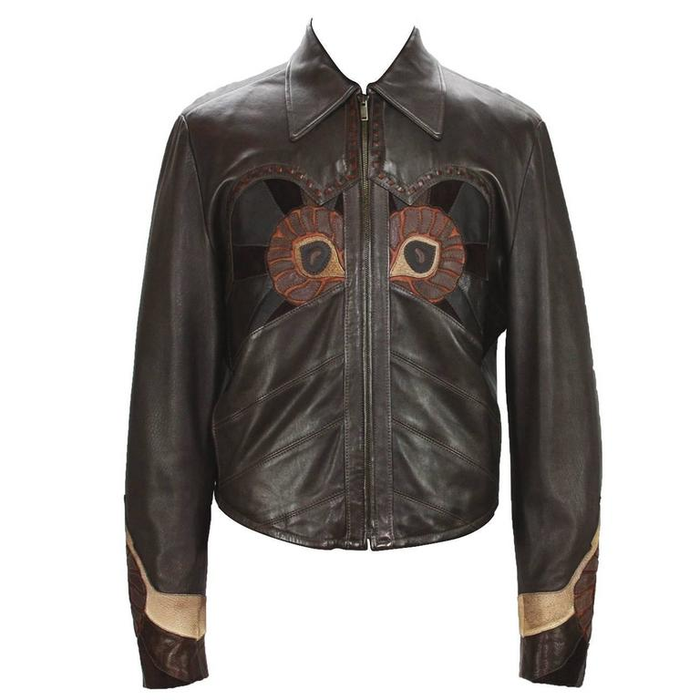 Rare Tom Ford for Gucci Runway Men's Leather Western Jacket S/S 2004 It.54 For Sale