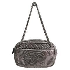 Chanel Metallic Silver Lambskin Camera CC Evening Shoulder Bag