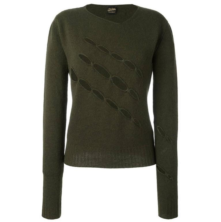 Jean Paul Gaultier Man Khaki Wool Cut Out Jumper
