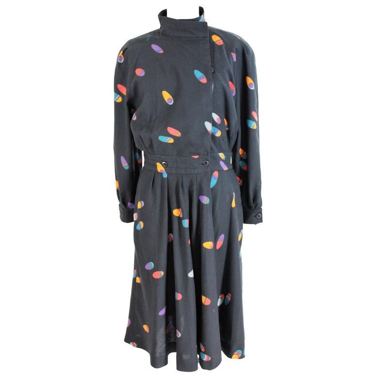 1980s Krizia Blue Wrap Dress Fantasy Texture