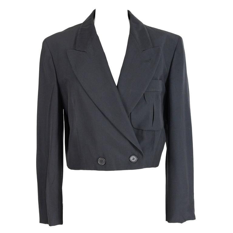 1990s Alberta Ferretti Black Bolero Jacket Bolero double Breasted