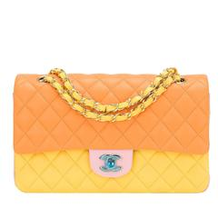 Chanel Tri-Color Quilted Lambskin Medium Classic Double Flap Bag