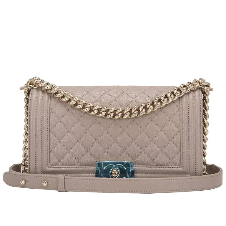 Chanel Taupe (Dark Beige) Caviar Medium Boy Bag For Sale