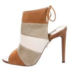 Aquazzura NEW & SOLD OUT Nude Suede Colorblock Evening Heels Sandals in Box