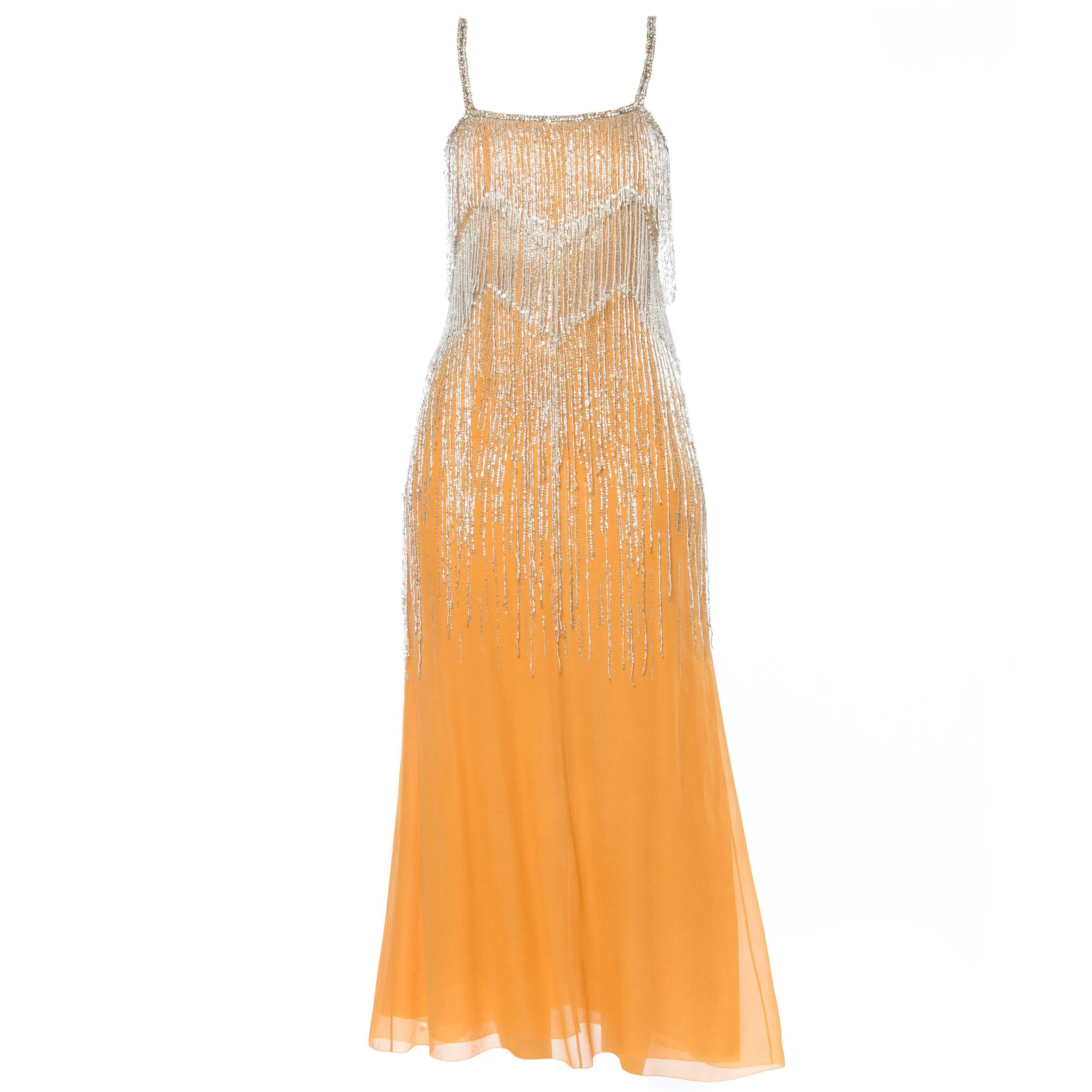 1970S CHRISTIAN DIOR Haute Couture Silk Chiffon Crystal Beaded Fringe Cocktail
