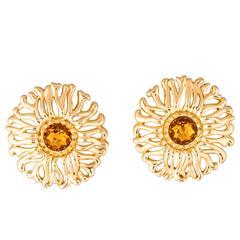Christian Dior Vintage Gold Textured Crystal Sunburst Evening Stud Earrings