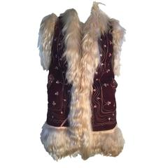 Vintage 1960s / 70s Afghan Suede Embroidered Waistcoat