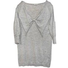 Miu Miu Grey Long Knit Tunic w/ Bow sz M/L
