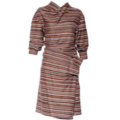 Vintage ISSEY MIYAKE Brown Knit Striped Ensemble