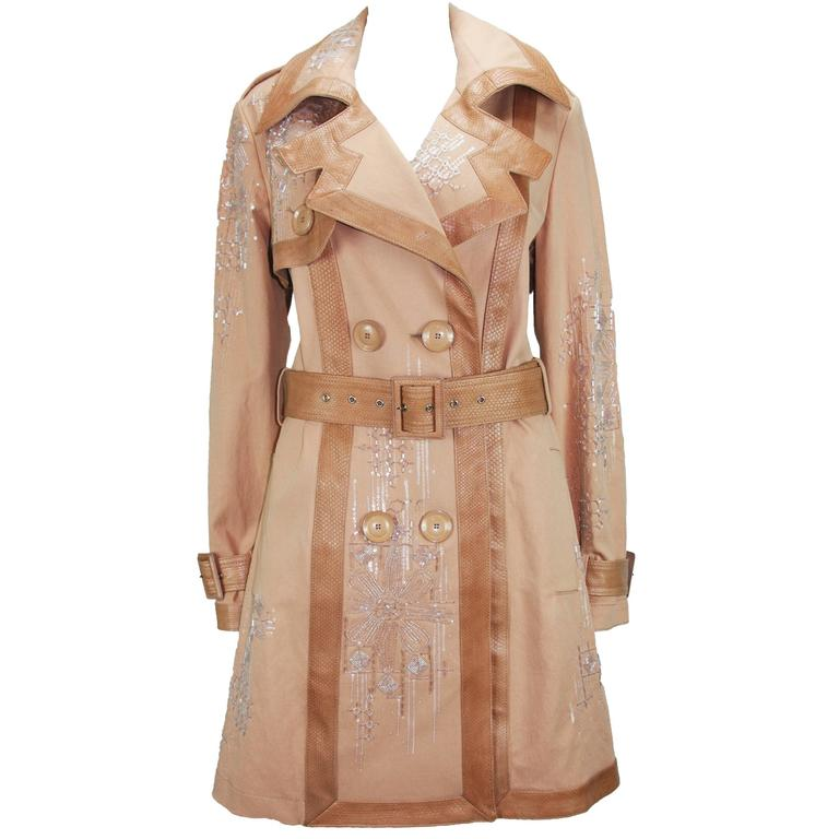 New Christian Dior Snake Beads Embellished Trench Coat Fr.40 - US 8