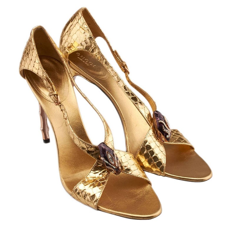 New Tom Ford for Gucci S/S 2004 Gold Python Jeweled Bamboo Heel Shoes 8.5 and 11 For Sale