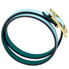 "Hermes Bracelet ""Behapi Double Tour"" Epsom / Swift Leather Zephyr / Malachite Co"
