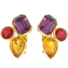 ALEXIS KIRK Jewel Clip Earrings Estate Fine Jewelry