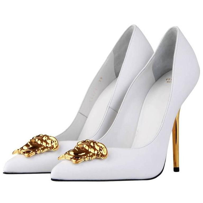 New Versace White Leather Medusa Pumps Heels It. 38.5 1
