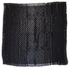 Louis Vuitton Black & Silver Lurex Monogram Shine Shawl Scarf
