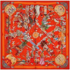 """Hermes Native American Indian Cashmere and Silk 54"""" New Shawl"""