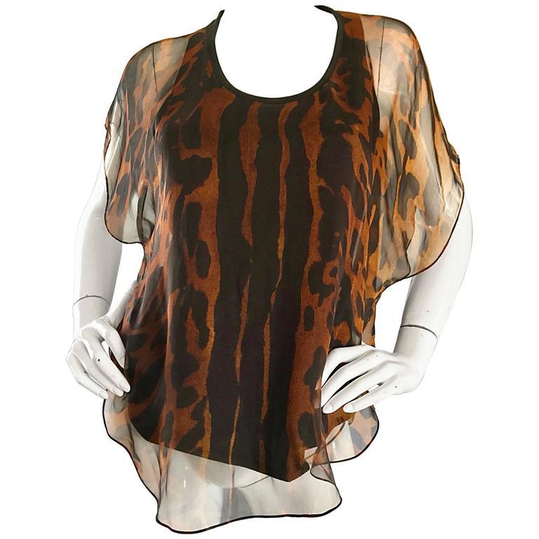 Alexander McQueen Leopard Print Silk Chiffon Flutter Sleeve Racerback Blouse Top For Sale