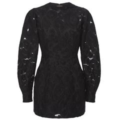Versace Black Long Sleeve Jacquard Micro Mini Dress