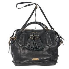 Black Burberry Leather Tassel Satchel