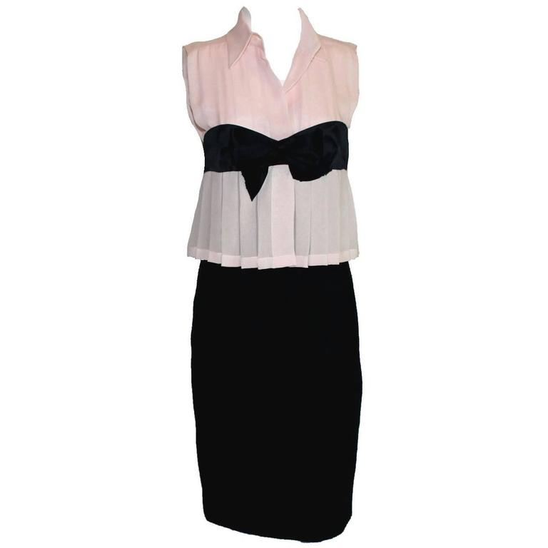 Chanel by Karl Lagerfeld Pleated Signature Bow Silk and Boucle Dress