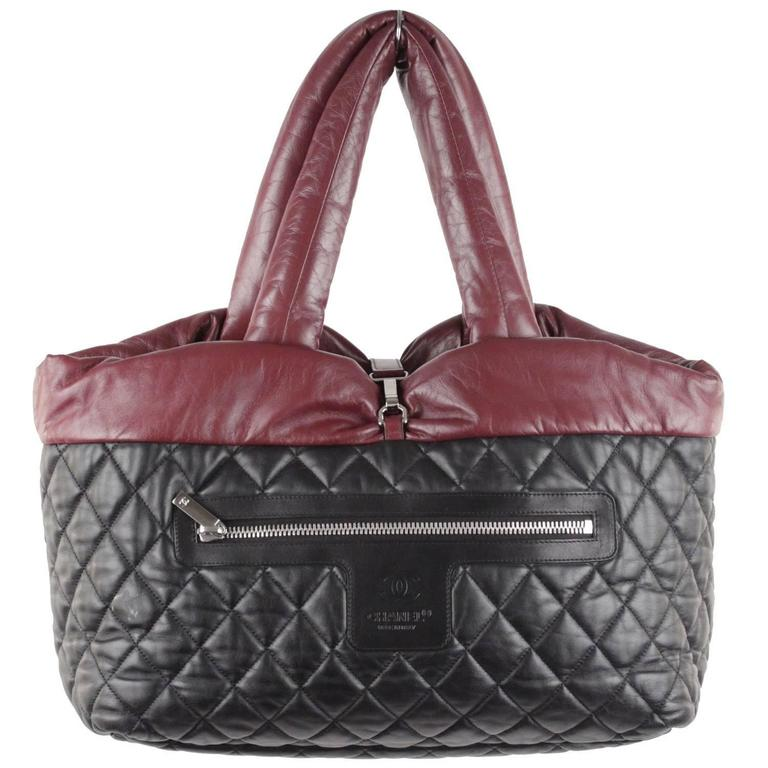 35588c76a24e Chanel Black/Burgundy Reversible Leather Coco Cocoon Tote Handbag For Sale