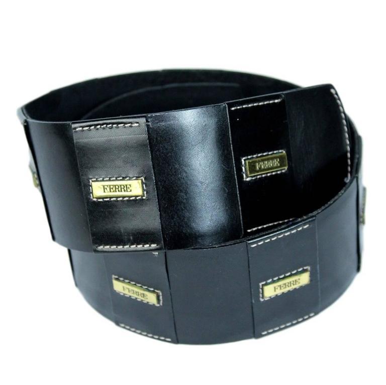 1980s Gianfranco Ferrè Black Leather Slave Belt