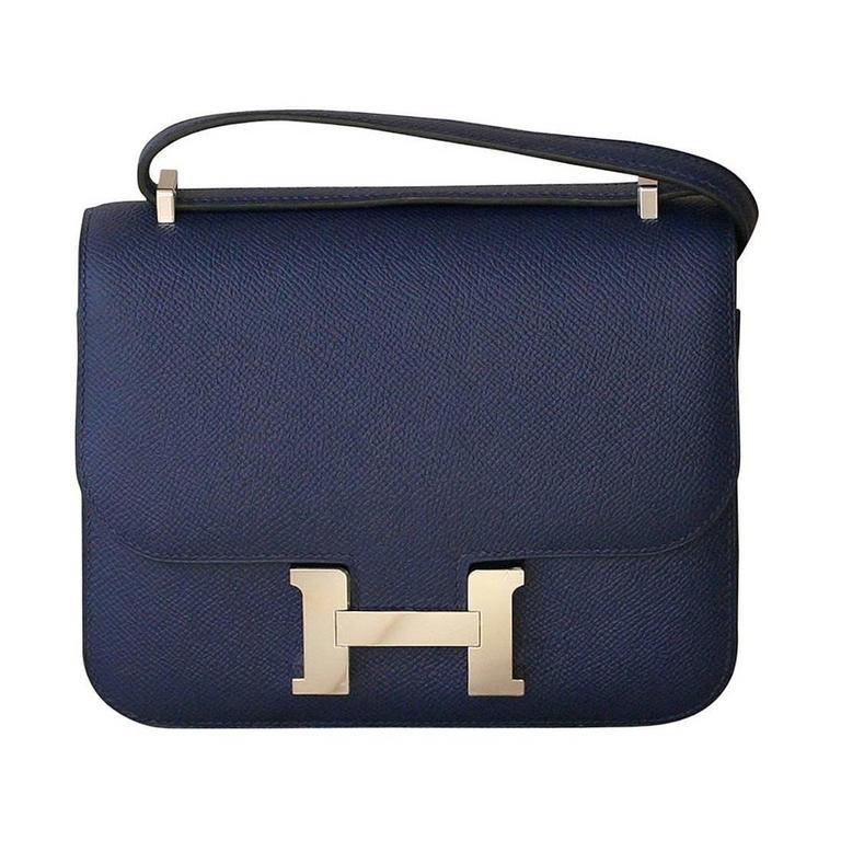 HERMES Constance Mini Epsom Sapphire Blue 18' For Sale
