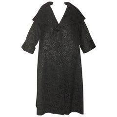 I Magnin & Co Black Bow Jacquard Swing Coat Shawl Collar, Late 1950s
