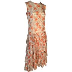 Art Deco 1930s Cotton Embroidered & Floral Print Dress Tiered Dropped Waist UK