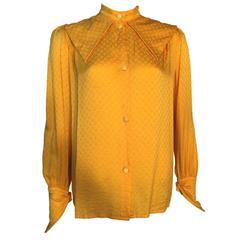 Christian Dior 1970s vintage 100% Silk Monogrammed Blouse Shirt UK 10