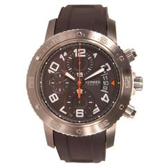 Hermes Clipper Chronographe Watch Rubber Strap Orange, Black, Brown 2012.
