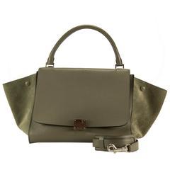 Celine Handbag Trapeze Long Strap Grey Color 2013.