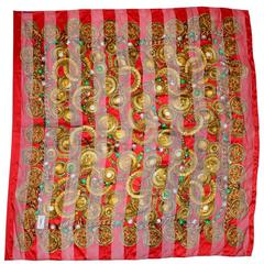 "YSL Red & Gold Jewel Print XL 54"" Silk Scarf"