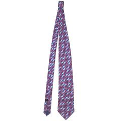 Bottega Veneta Blue & Red Printed Silk Tie