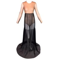 Michael Kors Sheer Nude & Black Mesh Bodysuit Long Gown Dress 4