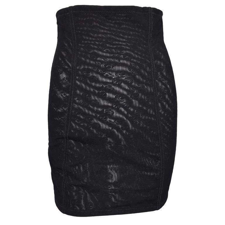 S/S 1992 Dolce & Gabbana Sheer Lace Corset Bandage High Waist Mini Skirt