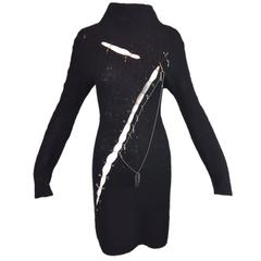 1990's Yoshiki Hishinuma Black Rocker Slashed Safety Pins Chains Dress