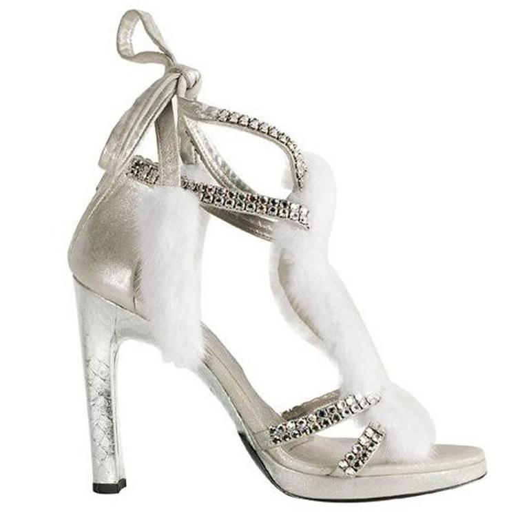 f37f32b28cc Tom Ford for Gucci Silver Snake White Mink Leather Crystal Platform Shoes  37.5 For Sale